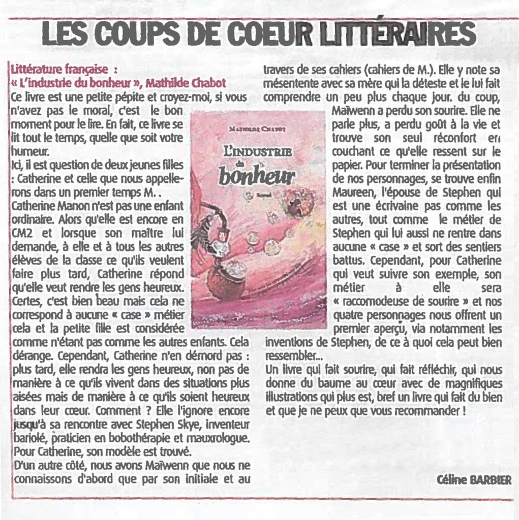 Coup de coeur littéraire de Céline Barbier