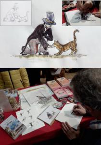 Illustrations pour le balayeur de neige pendant salon du livre